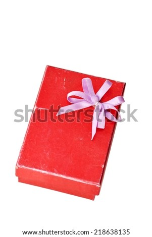 old red gift box with lid and bow on a white background - stock photo