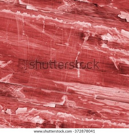 Old Red Laminated Flooring Varnished Wood Block-board, Cracked Scratched Peeled Grunge Texture.