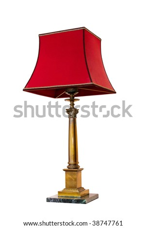 Old red lamp isolated included clipping path - stock photo