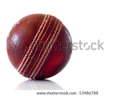 Old red leather cricket ball isolated against a white background - stock photo