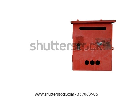 old red mailbox on white background - stock photo
