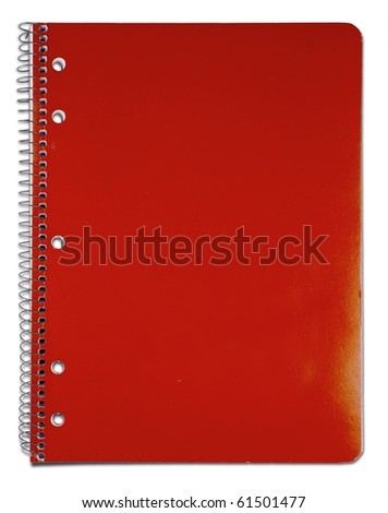 Old red notebook. Isolated on white. - stock photo