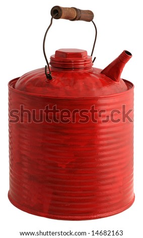 Old red painted gas can