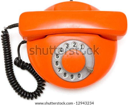 old red phone - stock photo