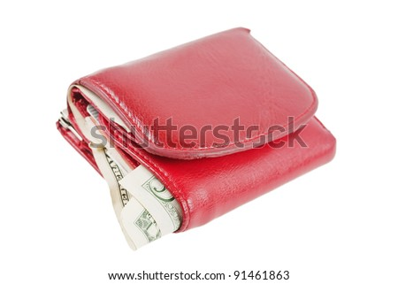Old red purse isolated on white