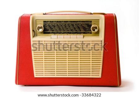 Old red radio - stock photo