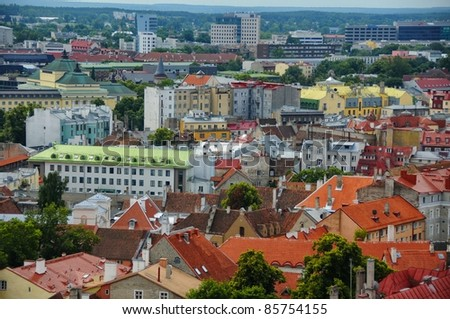 old red roofs in Tallinn  Estonia - stock photo
