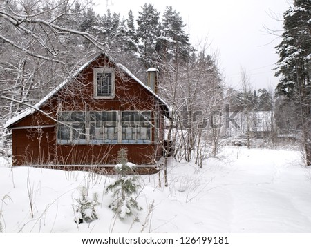 Old, red rural house - stock photo