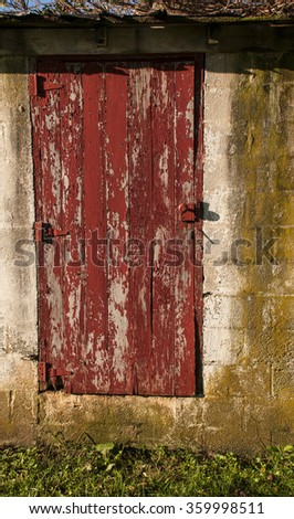 Old red shed door