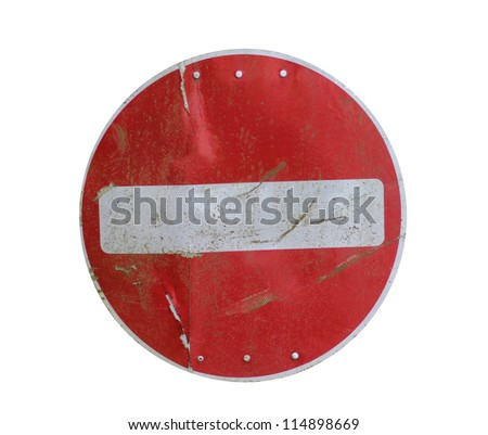 Old red stop road sign isolated on white background. - stock photo