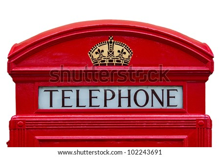 Old red telephone box with clipping path, London, England - stock photo