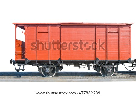old red train wagon,isolated on white.