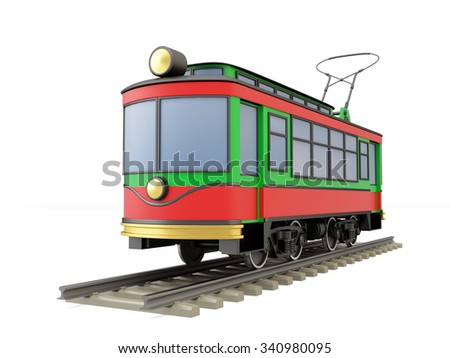 Old red tram - stock photo