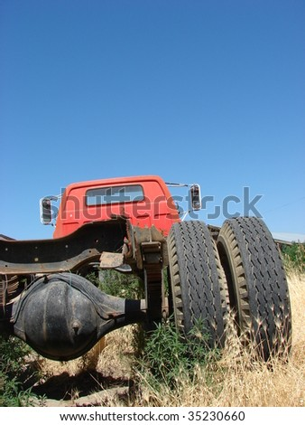 Old red Truck - stock photo