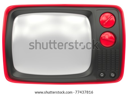 Old red TV frontal view isolated on a white background