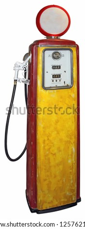 Old red yellow gas pump isolated on a white background - stock photo