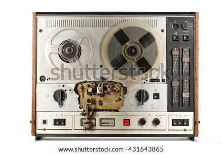 Old reel tape recorder on white background - stock photo