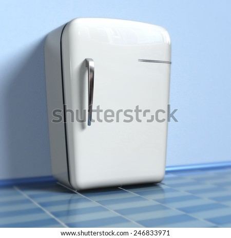 Old refrigerator (3d) - stock photo