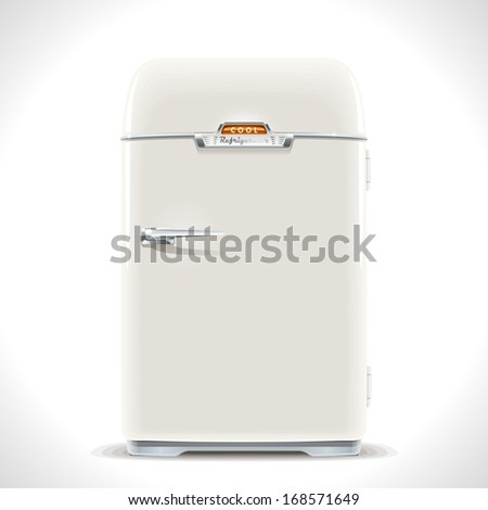 Old Refrigerator. Realistic illustration of an old vintage fridge last century with chrome handle. - stock photo