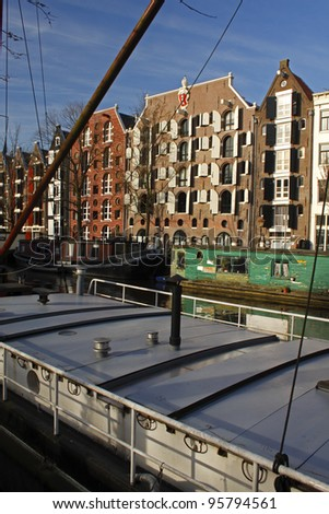 Old regenerated merchant buildings along Brouwersgracht in Amsterdam in the Netherlands in Europe. - stock photo