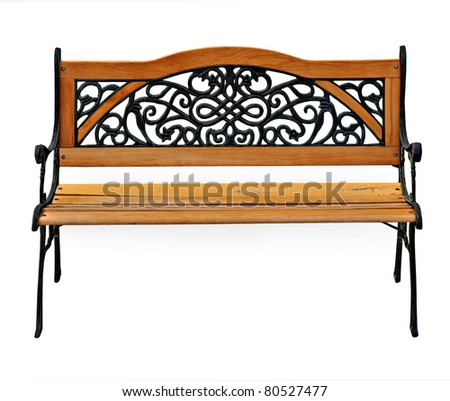 old renovated high quality stylish garden wooden and cast-iron bench isolated over a white background - stock photo