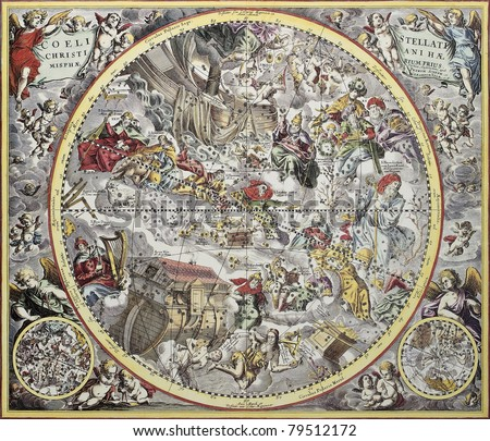 Old representation of Christian celestial hemisphere. From Atlas Coelestis, created by Andreas Cellarius, published in Amsterdam, ca. 1660 - stock photo