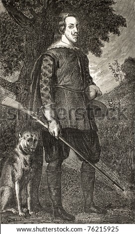 Old reproduction of Philippe IV of Spain portrait with hunting dog by Diego Velazquez. Engraved by Cosson-Smeeton, published on L'Illustration, Journal Universel, Paris, 1868 - stock photo