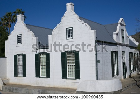 Old Residency House in Graaff-Reinet, Eastern Cape, South Africa. Historic building, built early 19th century in classical Cape style. Now a museum. - stock photo