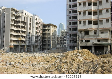Old residential area in Shenzhen city, China. Removing old buildings in Futian district. - stock photo