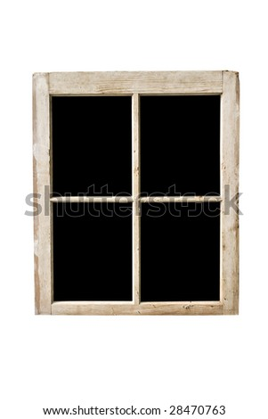 Old residential window frame isolated on a white background with panes blacked out.