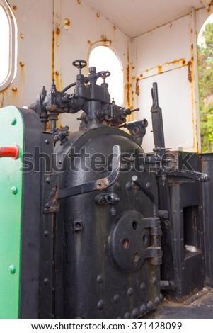 Old restored steam locomotive - stock photo