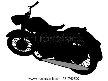 Old retro bike on white background - stock photo