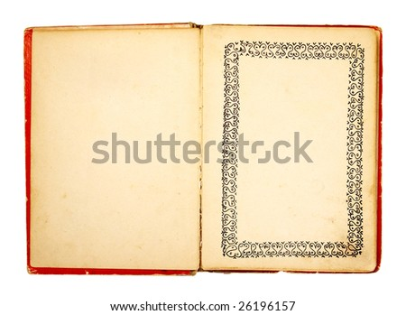 old retro book on white background with clipping path - stock photo