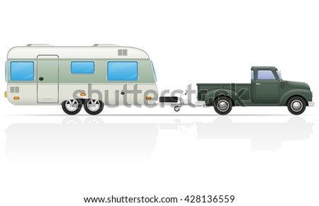 old retro car pickup with trailer illustration isolated on white background