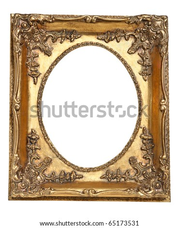 Old retro gold frame, isolated on white
