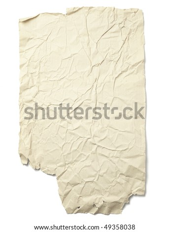 old retro grunge paper on white background with clipping path - stock photo