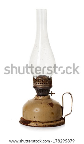 old, retro kerosene lamp isolated on white background - stock photo