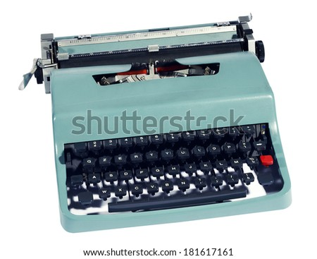 Old retro manual office typewriter with keys and a paper carriage and typeset pictured high angle close up isolated on white - stock photo