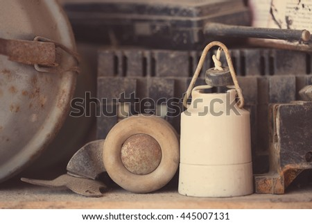 Old retro objects with rust and dust, in a workshop - stock photo