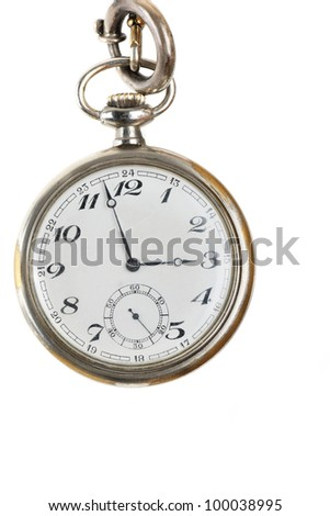 old retro pocket watch isolated on white