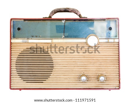 Old retro radio  isolate on white background - stock photo