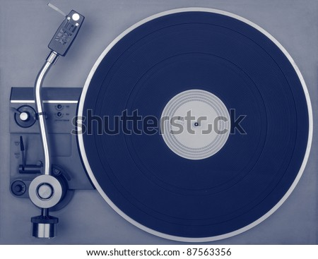 Old retro record player, view from above - stock photo