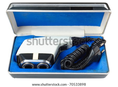 Old retro shaver machine  in the box. With Clipping Path - stock photo