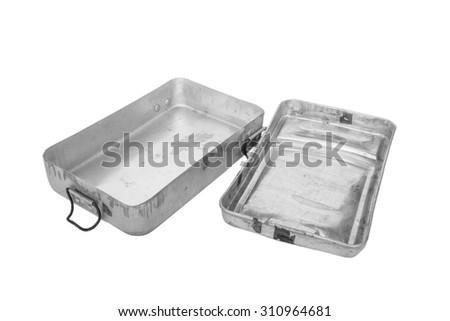 Old retro stainless food container with lid, isolated on white background - stock photo