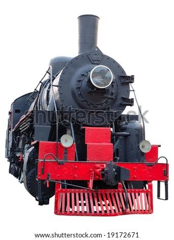 Old (retro) steam engine (locomotive) on isolated background. - stock photo