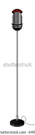 Old retro style radio microphone on a stand. Isolated object over white background - stock photo