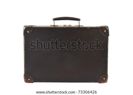 Old retro-styled travel suitcase isolated on white background - stock photo