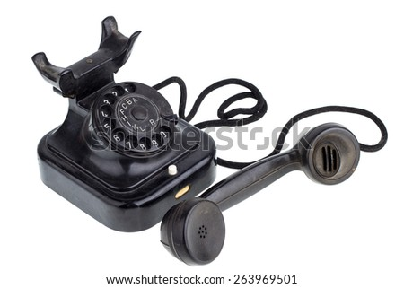 Old Retro telephone - stock photo