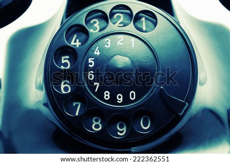 Old retro telephone with digital filter - stock photo