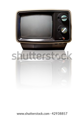 Old retro TV isolated on white with reflection - clipping path - stock photo